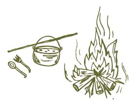 Doodle of campfire and food