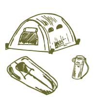 Doodle of a tent, thermos and sleeping bag
