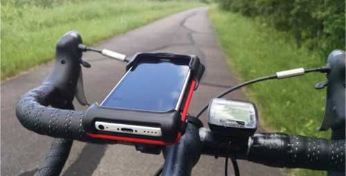 iPhone mounted on bike handlebars