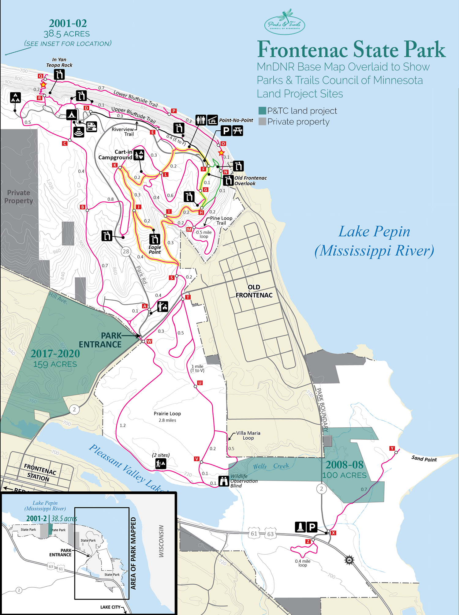 Map of Frontenac State Park showing P&TC projects
