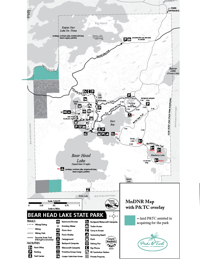 Map of Bear Head Lake State Park with project sites