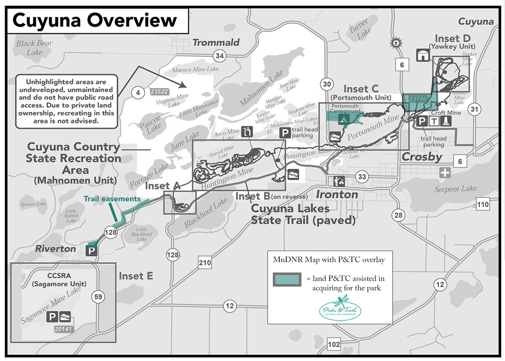 Map of Cuyuna Country showing our project sites