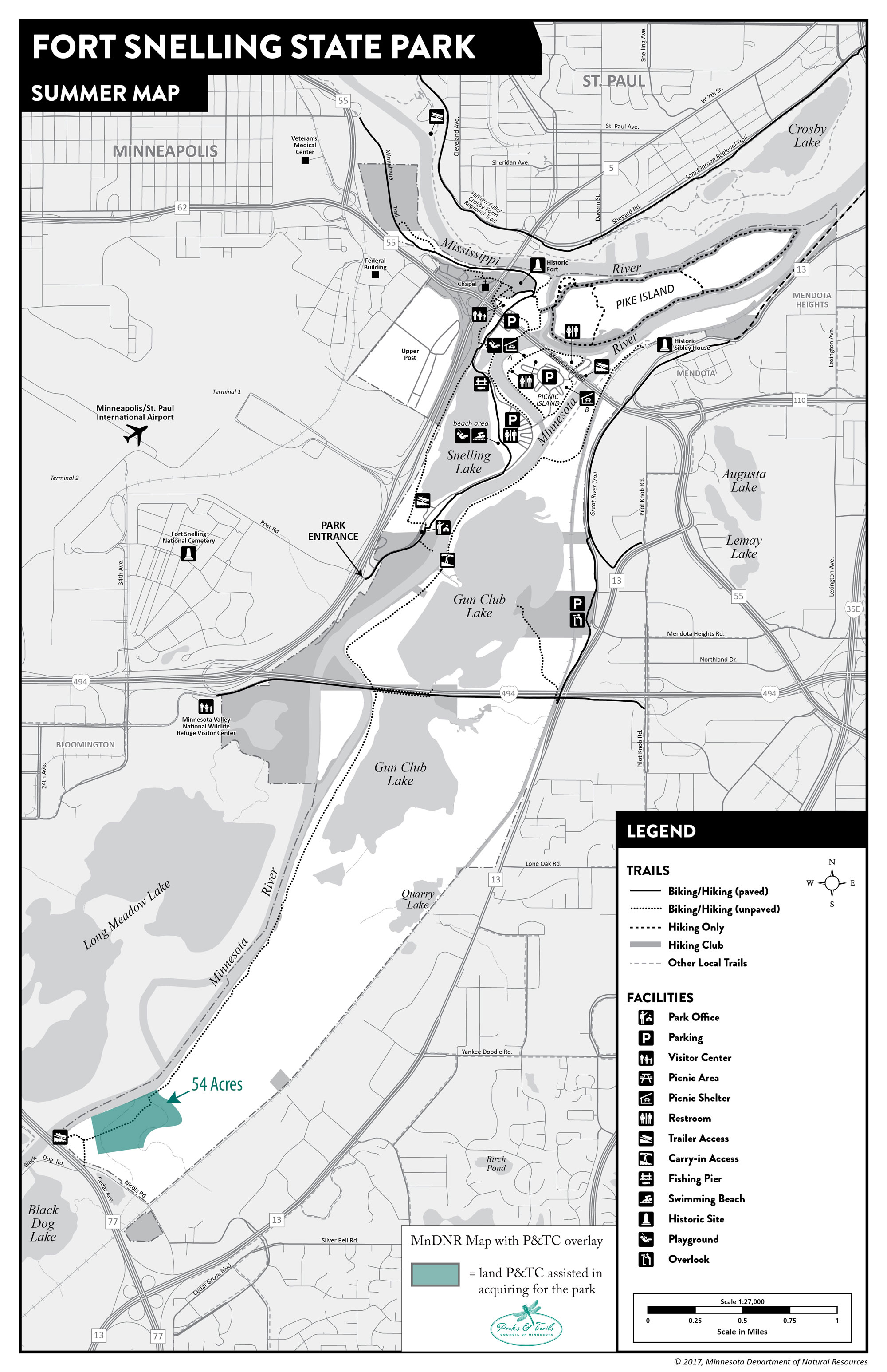 Map of Fort Snelling State Park showing project sites
