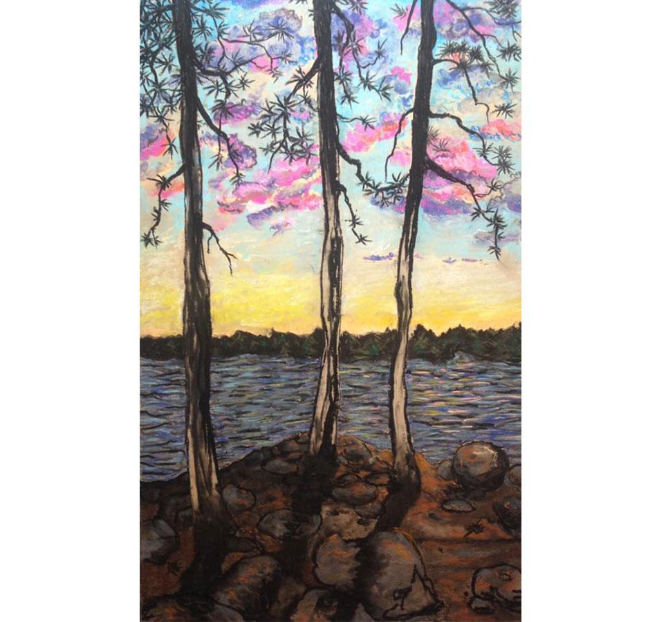 pastel painting of three trees
