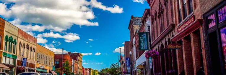 vibrant colored photo of downtown Faribault
