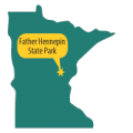 map MN with Father Hennepin State Park pinpointed