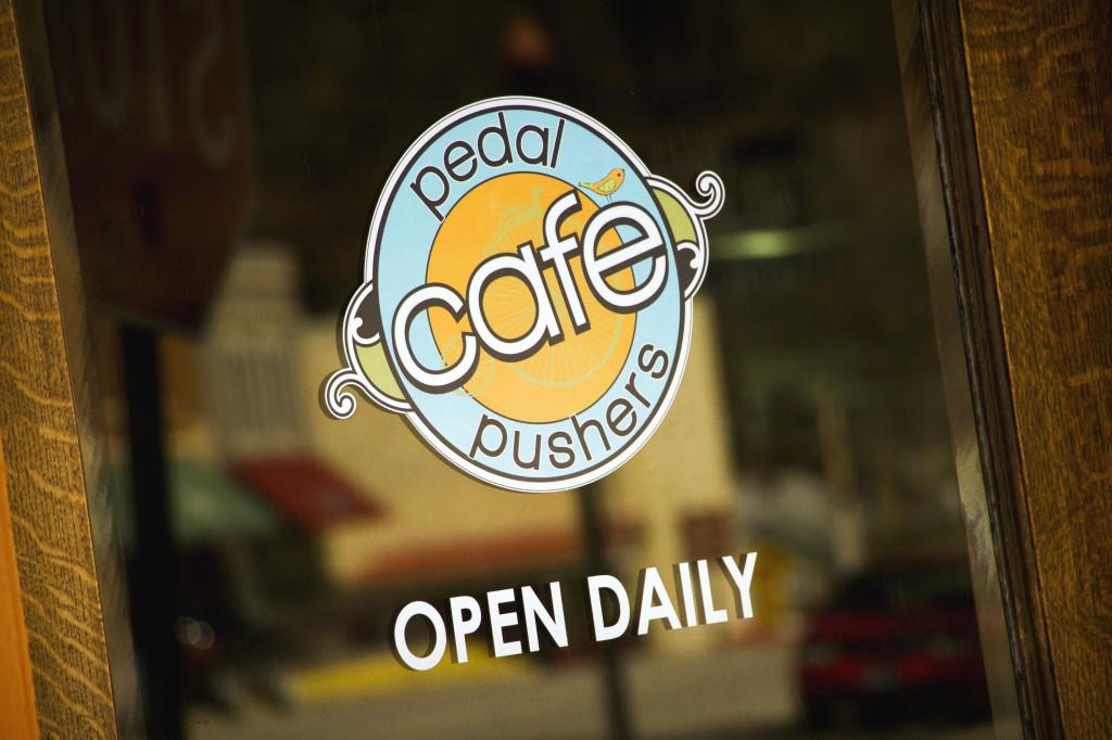 logo on window of cafe