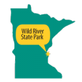Map of Mn with Wild River State Park pinpointed