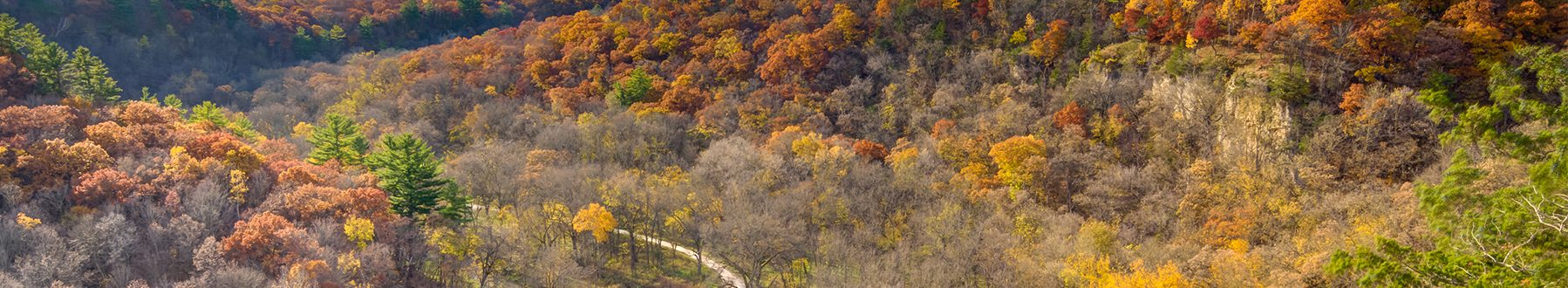 Landscape photo of the Whitewater valley with fall color bluffs