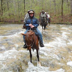 Crossing Leatherwood Creek on a rainy day.