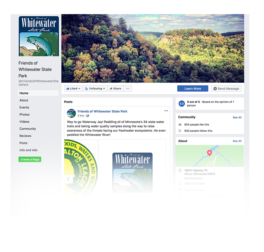 Screenshot of Friends of Whitewater State Park facebook page