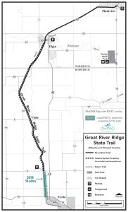 Map of Great River Ridge State Trail with PTC land highlighted