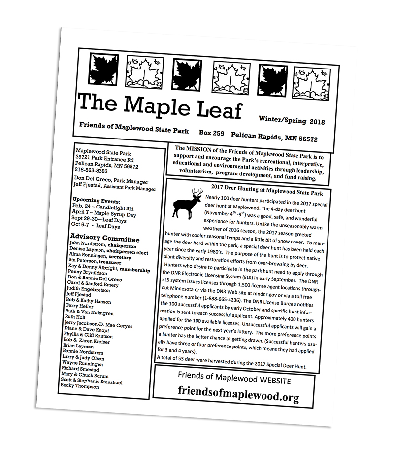 Example newsletter from Friends of Maplewood State Park