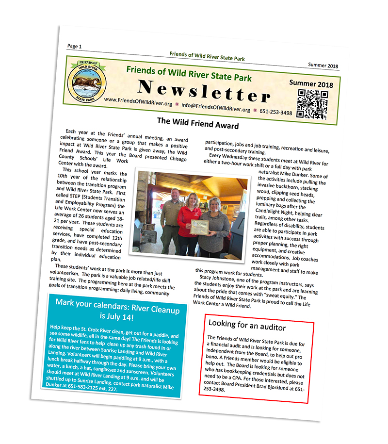 Newsletter example from Friends of Wild River State Park