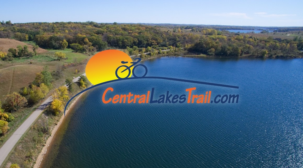 Aerial shot of the central lakes trail and a lake