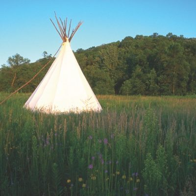 teepee in the prairie at Upper Sioux Agency state park