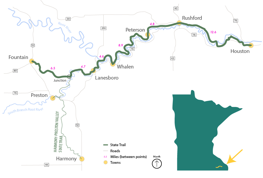 Root River State Trail map