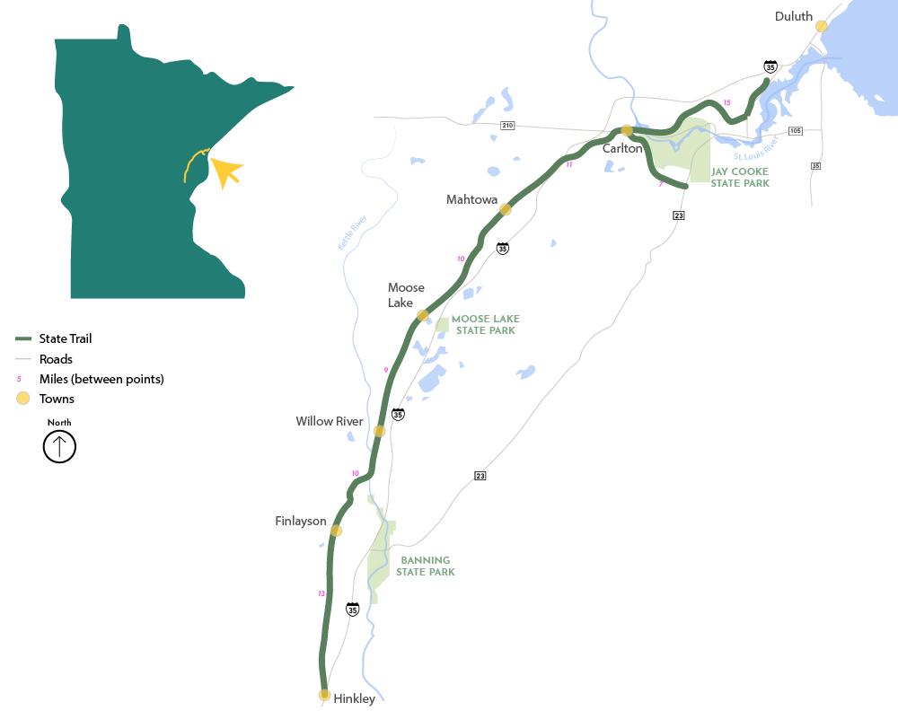 Willard Munger State Trail map