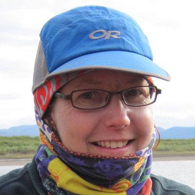 Anne Flueckiger bundled for cold hiking