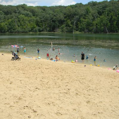 swimming beach with kids and families