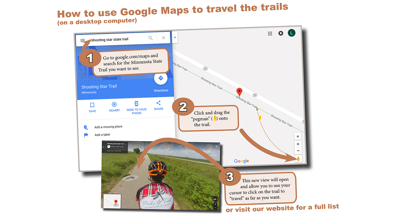 Infographic: screenshots of google maps and three steps to use the pegman