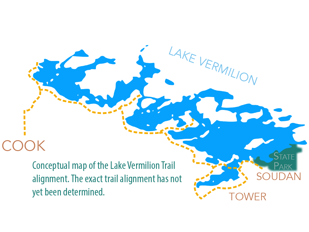 Conceptual map of the Lake Vermilion Trail alignment.