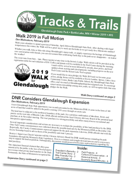 Snapshot of the cover page of the winter 2019 Glendalough Park Partners newsletter
