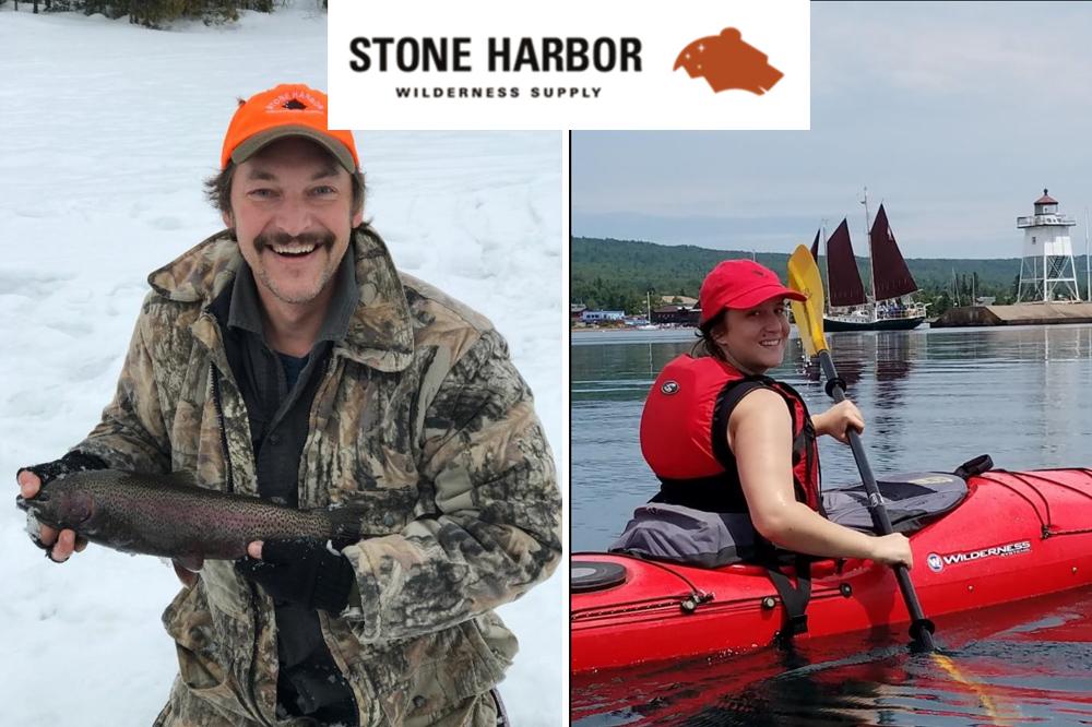 photo collage of man ice fishing and woman kayaking