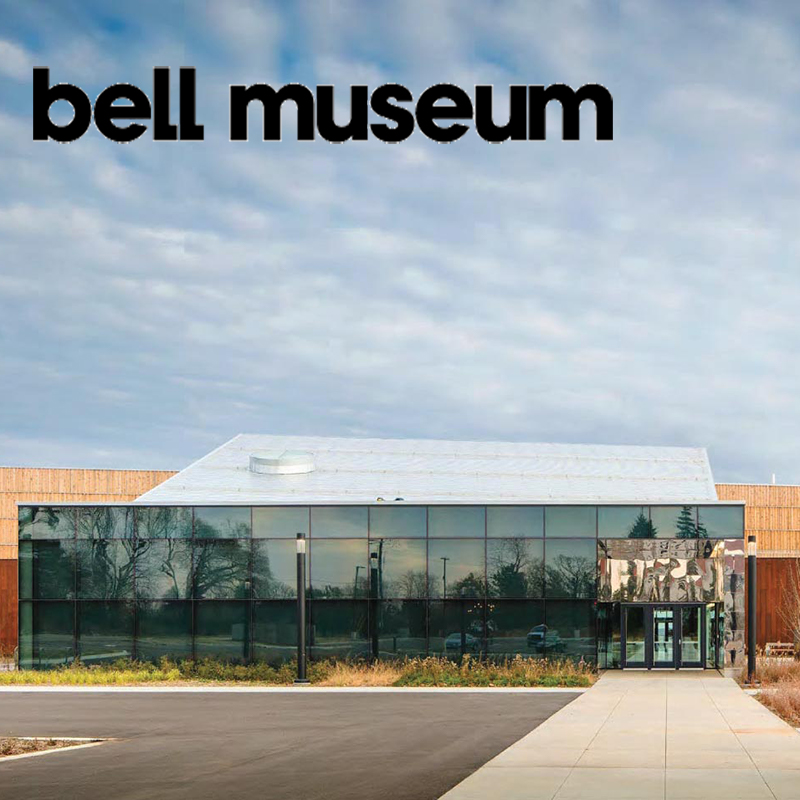 view of the exterior of the bell museum's glass wall