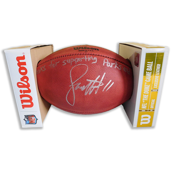 Football signed by Larry Fitzgerald
