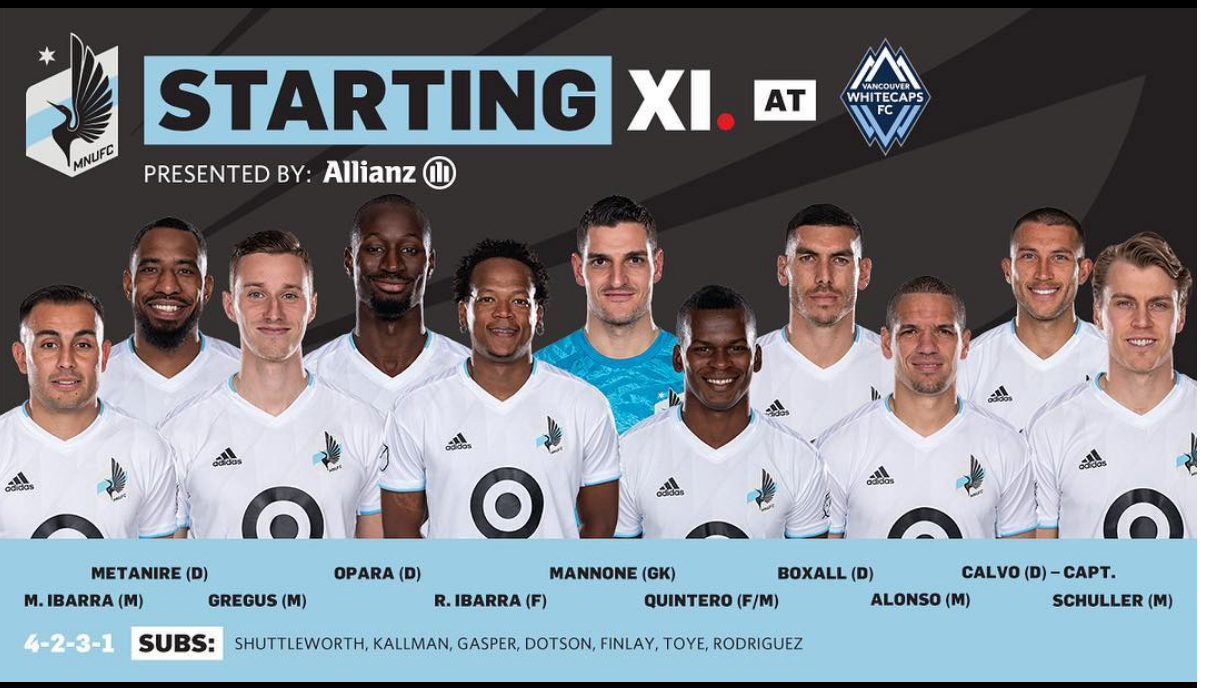 All the MN United Players lined up