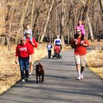 Families walk through the forest on a paved trail