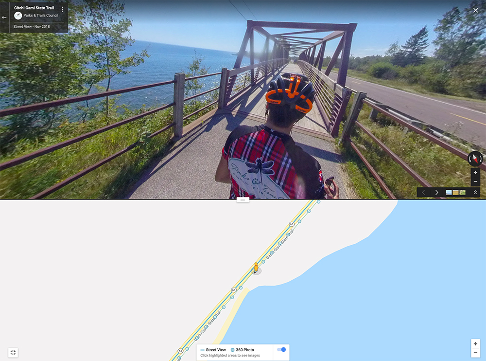 Screenshot from our Google Trailview of Gitchi Gami State Trail
