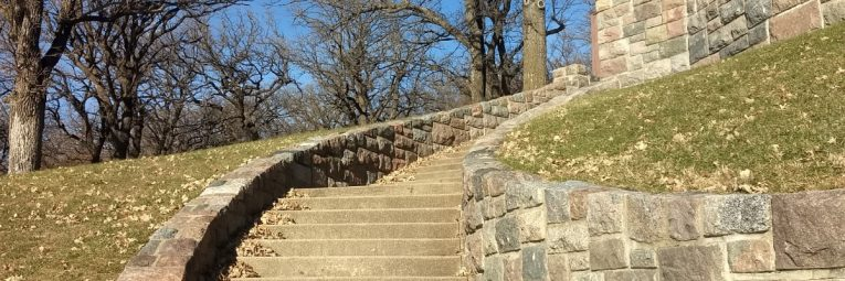 Historic stone stairway by the beach house