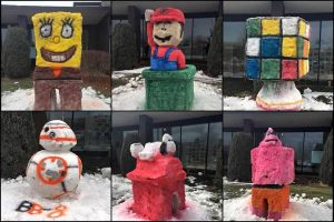 Six different colorful snow sculptures