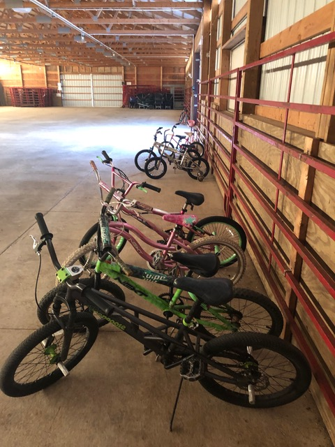 bikes in a row in a warehouse