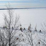 fat bikers on frozen Lake Bemidji