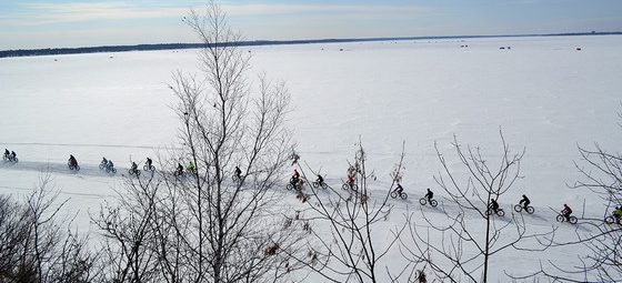 fat bikers on frozen Lake Bemidji