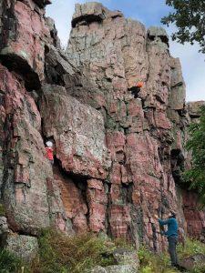 kids climbing rock wall