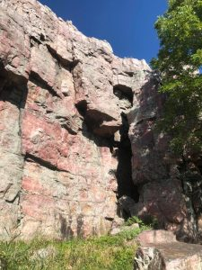 sioux quartzite cliff after removal of invasive plants