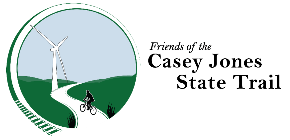 Circle logo with bike on trail and windmill