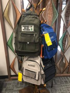 "Backpack with a patch that reads ""Friends of Blue Mounds"""