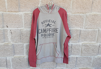Gray sweatshirt with red sleeves