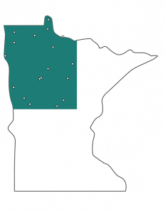 Outline of Minnesota with NW corner green