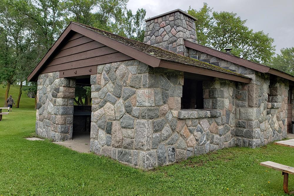 Stone picnic shelter