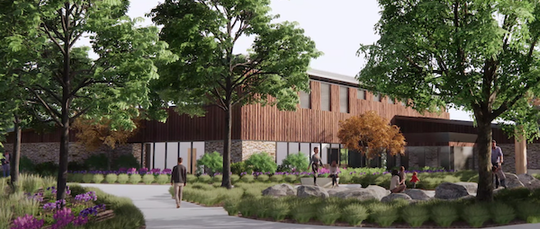 video still that shows rendering of Oxbow Park's new nature center