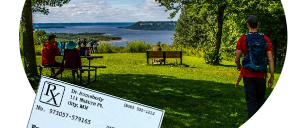 Doctor's prescription to spend time at a park and image of people at Frontenac State park