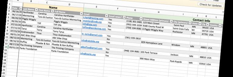 Screenshot of template for membership tracking