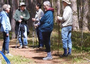 Hikers take a break on the trail
