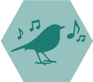 icon of bird with music notes